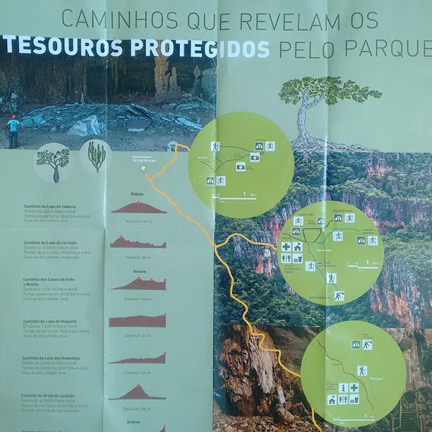 Mapa do parque nacional do Peruaçu MG